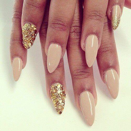 Beige X Gold Almond Nails