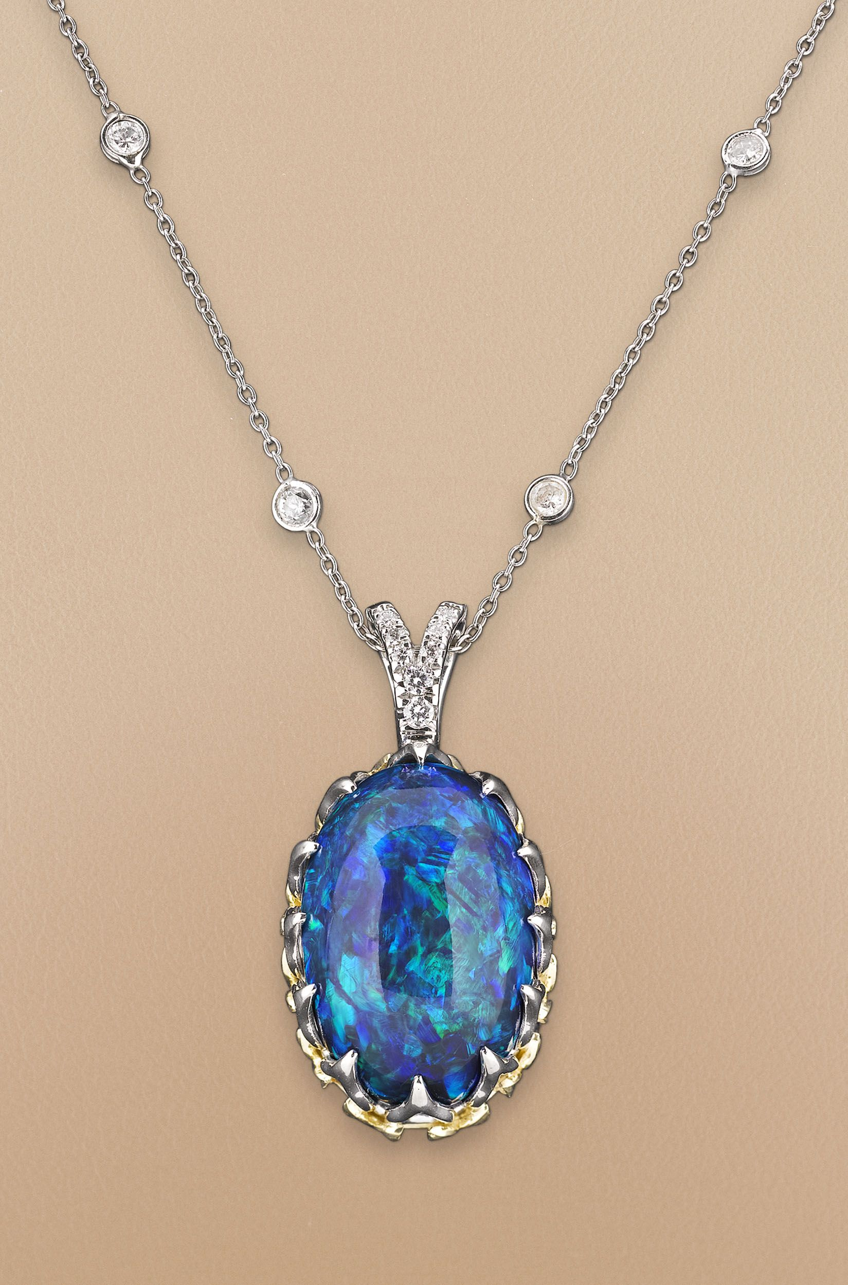 Black Opal Necklace 20 56 Carats Antique Jewelry Opal