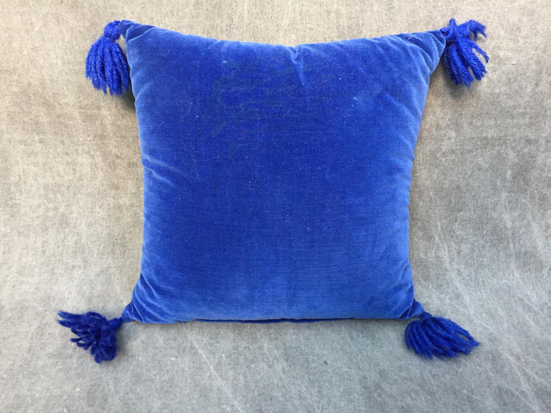 "60's Royal Blue Velvet Throw Pillow with Corner Pom Poms - 13"" Square by ElkHugsVintage on Etsy"