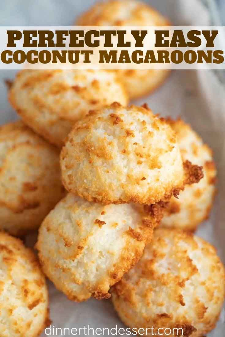 Coconut Macaroons are sweet and chewy, made from coconut flakes, sweetened condensed milk, almond and vanilla flavor, and incredibly EASY to make! #coconut #macaroons #macarons #dessert #baking #cookies #christmas #easter #dinnerthendessert #christmascookies