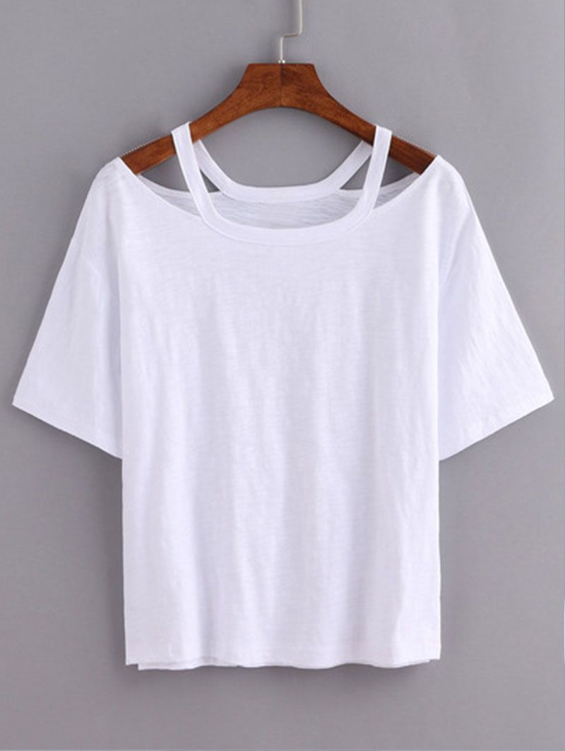 da371671dff Cutout Loose-Fit White T-shirt  tshirtdiysummer