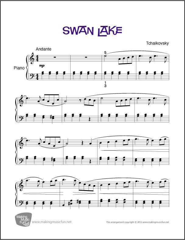Swan Lake   Sheet Music for Piano (Digital Print) - CLICK HERE for ...
