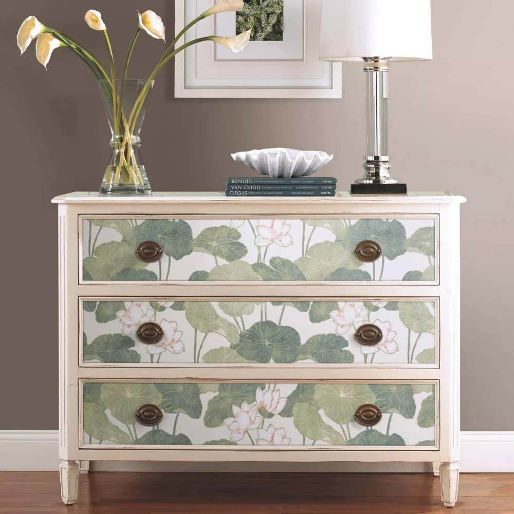 Roommates Lily Pads Peel Stick Wallpaper Cream Green Peel And Stick Wallpaper Diy Dresser Makeover Upcycled Home Decor