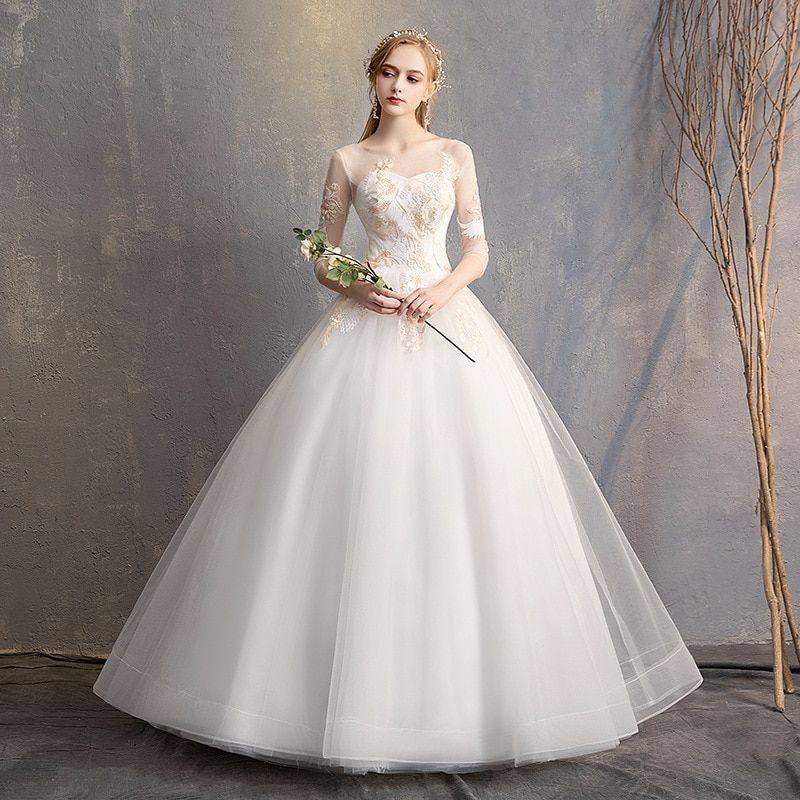 Vivian S Bridal Fashion Colorful Lace Appliques Wedding Dress 2019
