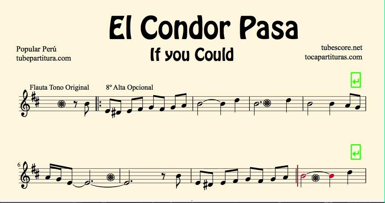 El Condor Pasa Partitura De Flauta Violín Y Oboe E Instrumentos Afinado Sheet Music Clarinet Tono