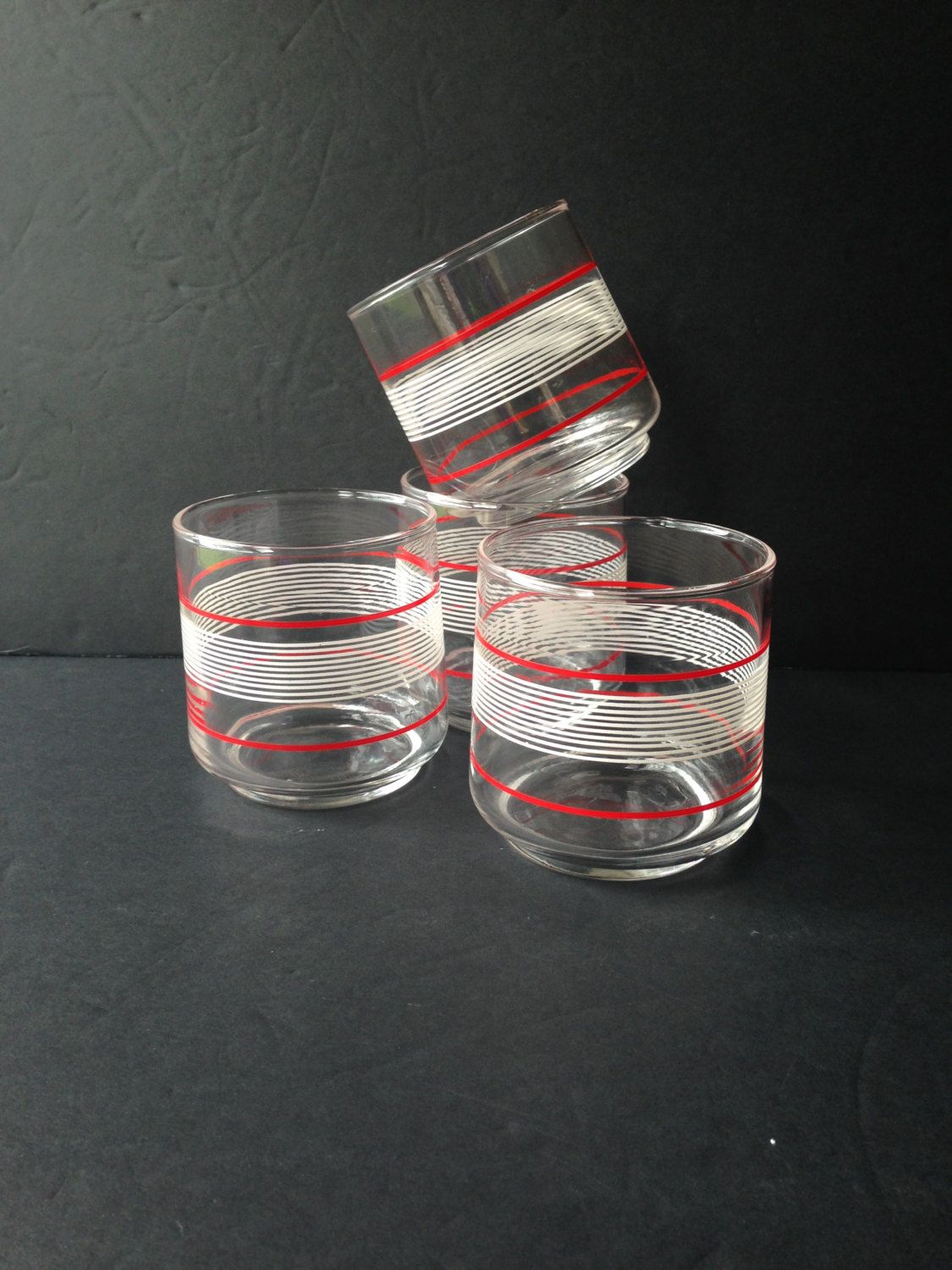 red white striped drinking glasses, set of 4 rocks glasses, vintage double old fashioned glasses, vintage red white housewares barware - pinned by pin4etsy.com