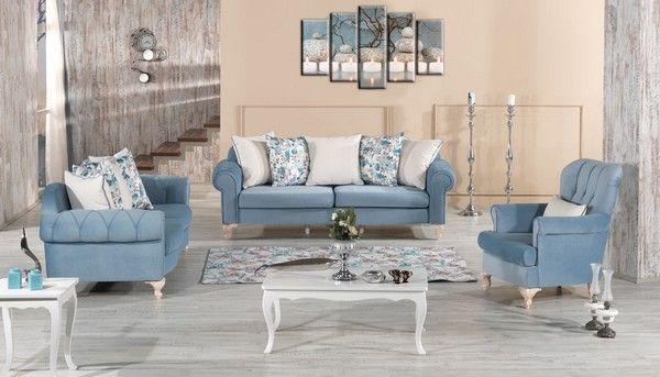 en yeni moda mavi koltuk takimi gorselleri mavi salon ev dekorasyonu koltuklar