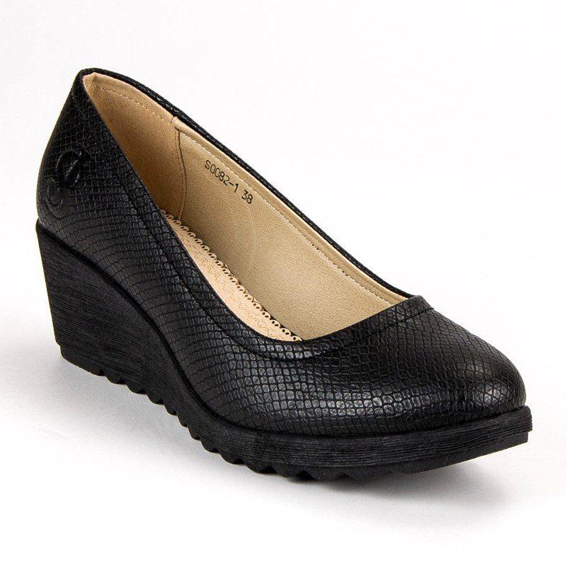 J Star Czolenka Na Koturnie Czarne Shoes Wedges Flats