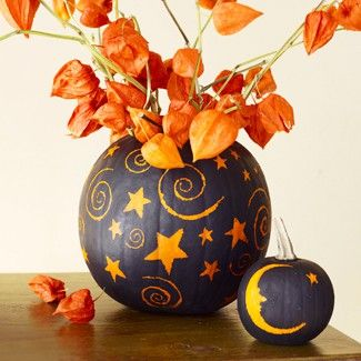 Spray pumpkin w black spray paint and then scratch off your design! BRILLIANT!