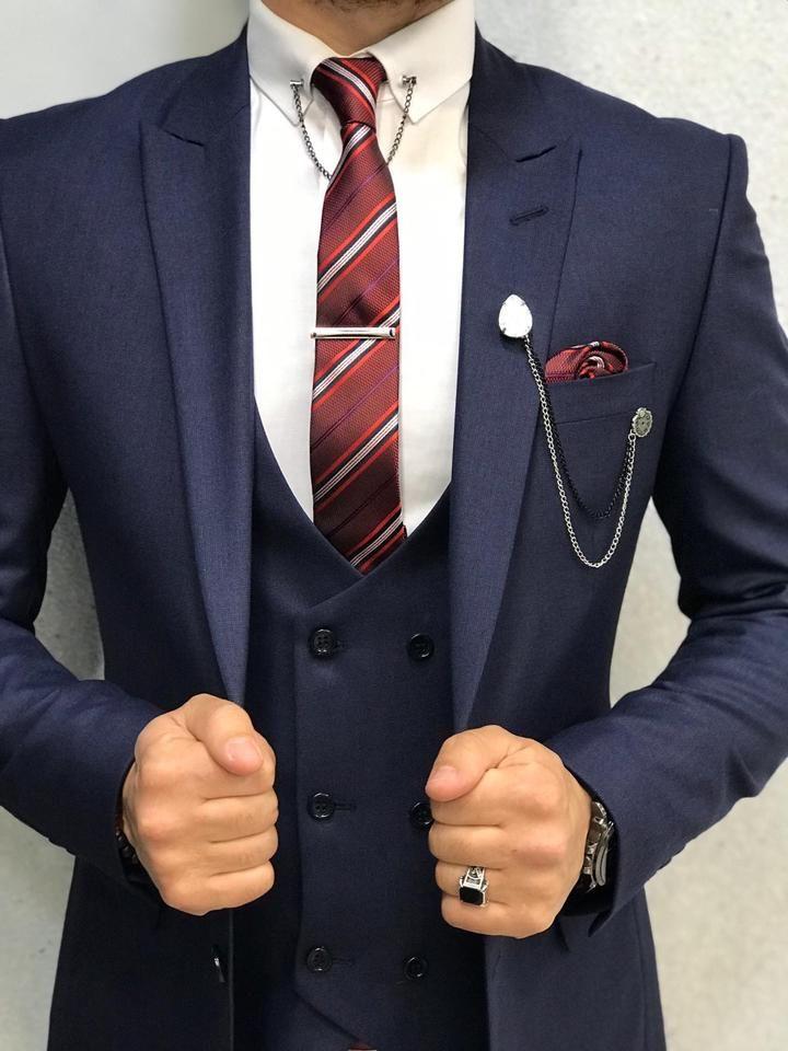 Bergamo navy blue suit in 2020 blue suit men blue slim