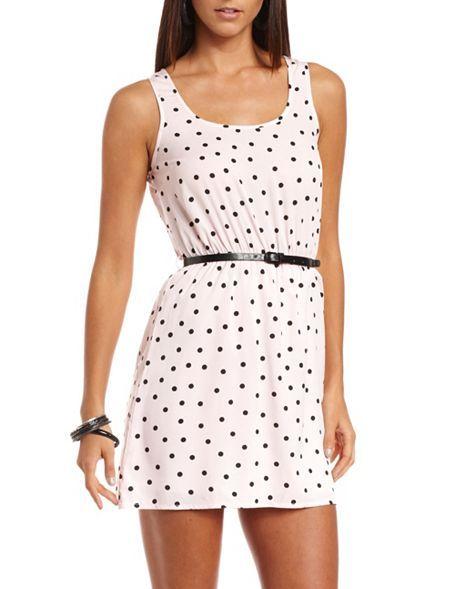 $24.99 Belted Polka Dot Tank Dress: Charlotte Russe