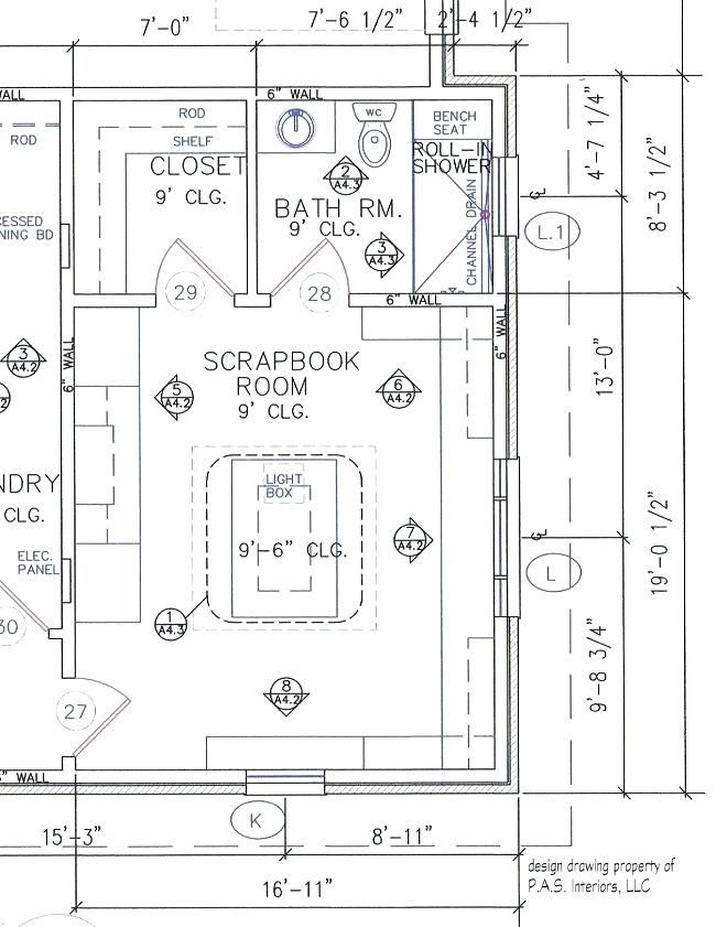Scrapbook room with built in craft storage plan layout dimensions design by pas interiors systems also rh pinterest