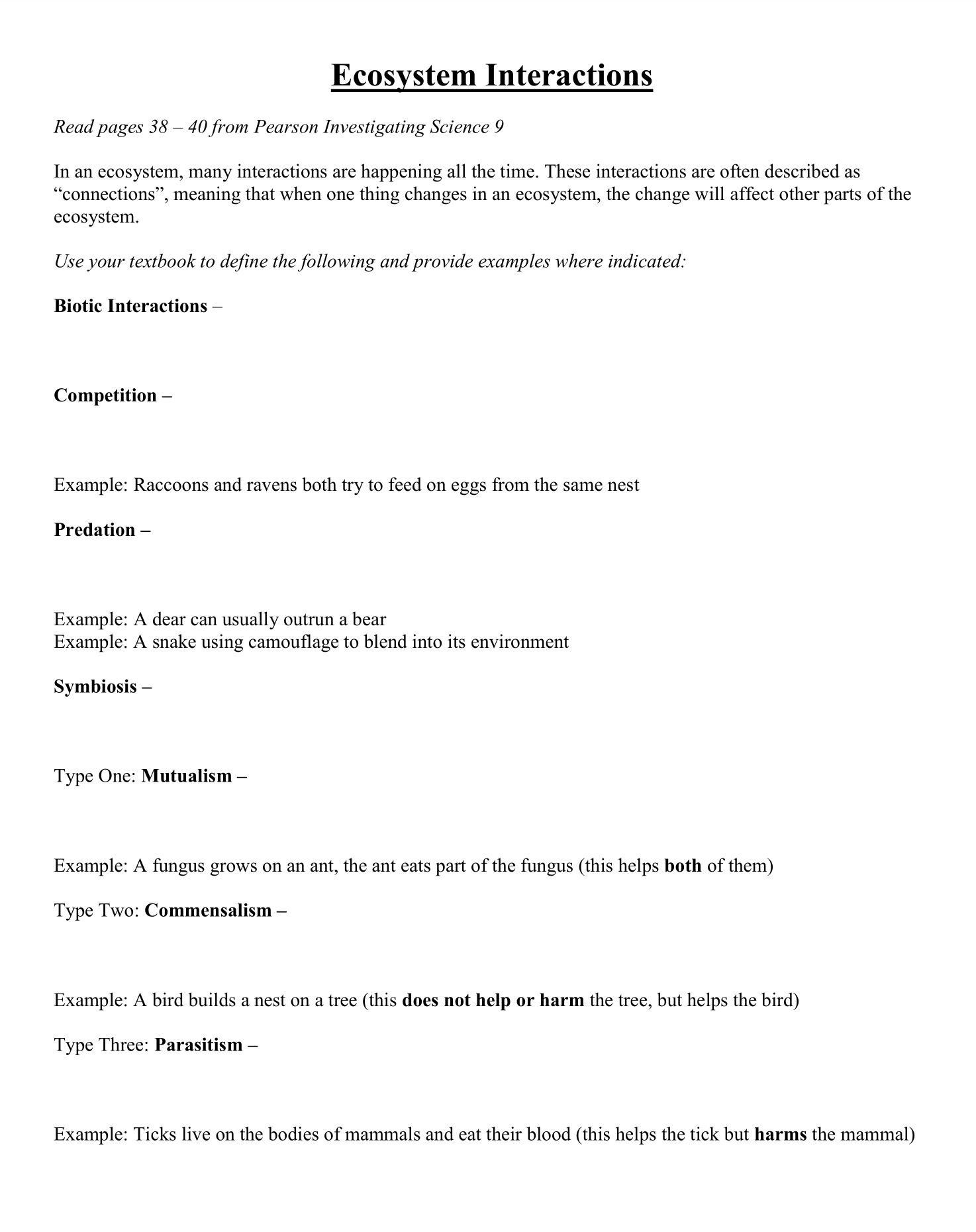Ecosystem Worksheets 4th Grade Worksheets Ecosystem