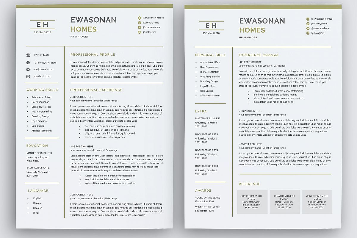 Minimal Resume 3 Pages Cv Template For Word Two Page Resume Cover Letter In Word Teacher Resume Simple Resume 96919 Resume Templates Design Bundl In 2021 Cover Letter For Resume Simple Resume Resume Examples
