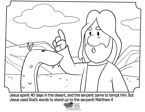 Jesus Tempted in the Desert Coloring Page Activity Matthew Mark