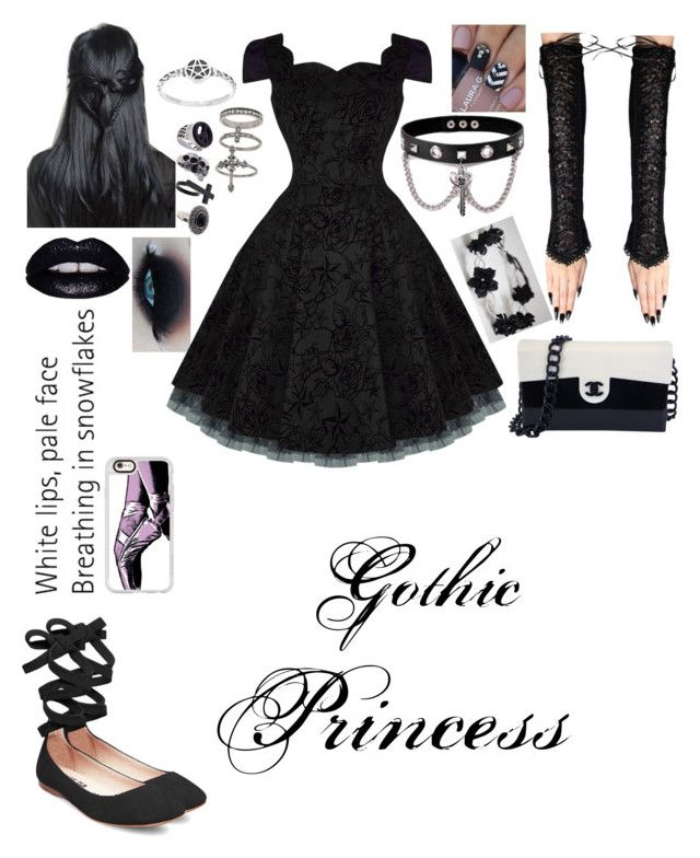 """""""Gothic Princess"""" by sorrowevermore ❤ liked on Polyvore featuring Steve Madden, Miss Selfridge, Trend Cool, Lime Crime, Casetify and Chanel"""