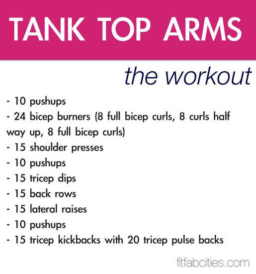 Tank Top Arm Workout - from fitsugar - easy to do at home! Looks like a killer ...