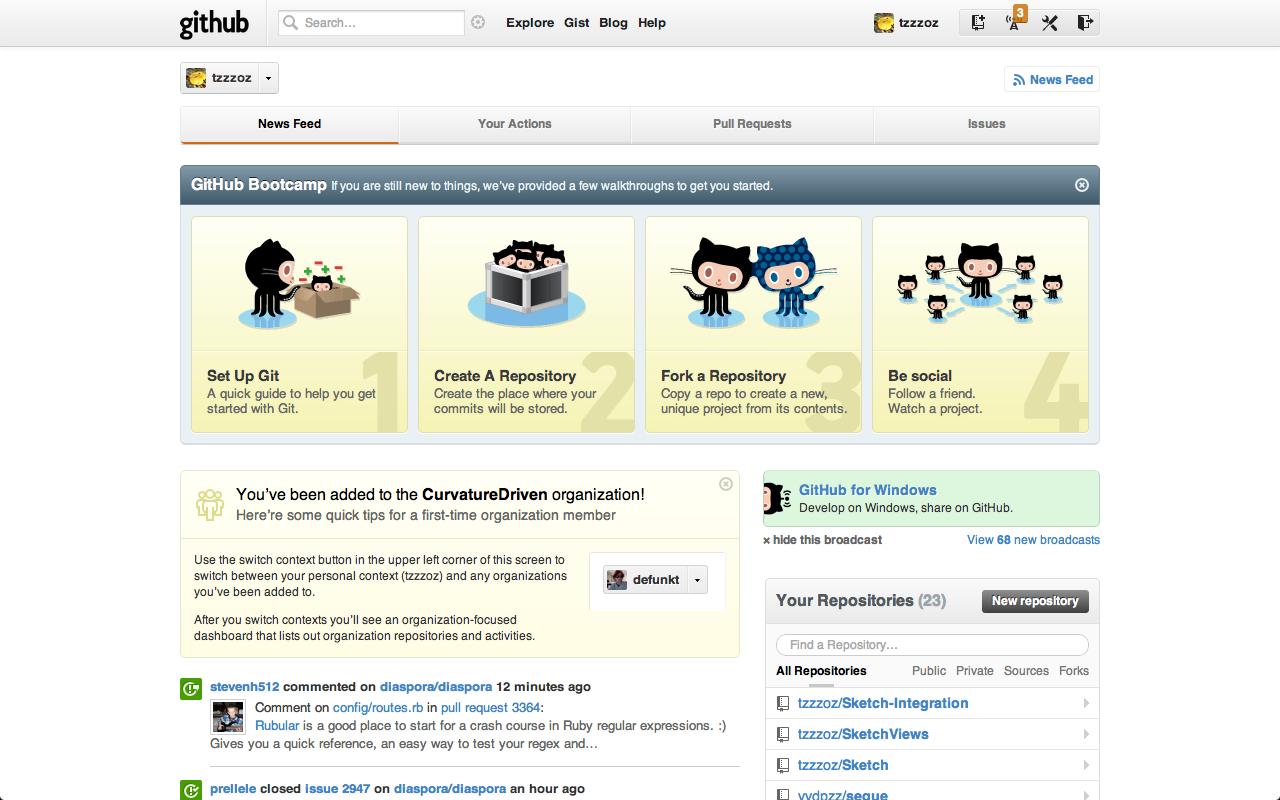 Github Cover Screen shot, Empty state, Account settings