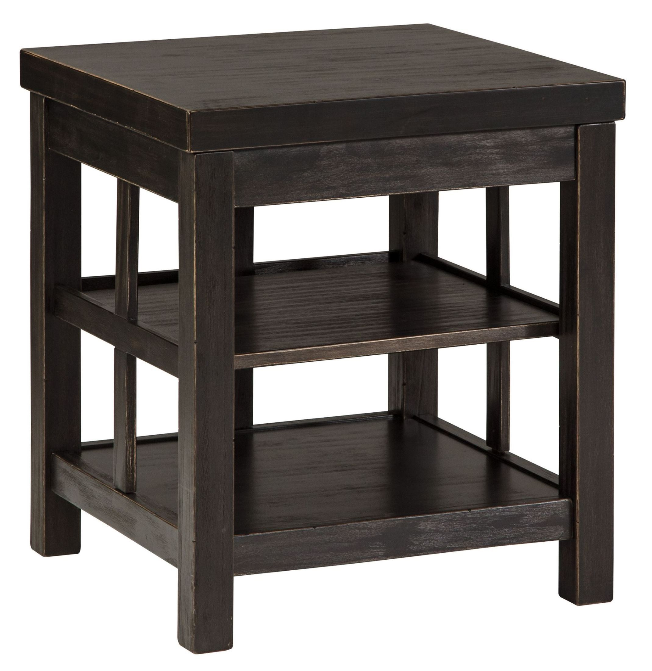 Gavelston Vintage Rub Through Black Square End Table Ashley