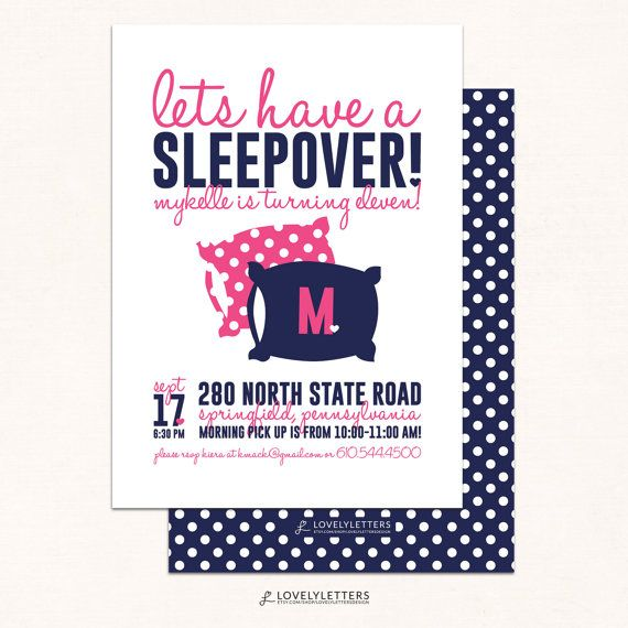 Sleepover Birthday Invitation Slumber Party Invitation Sleepover