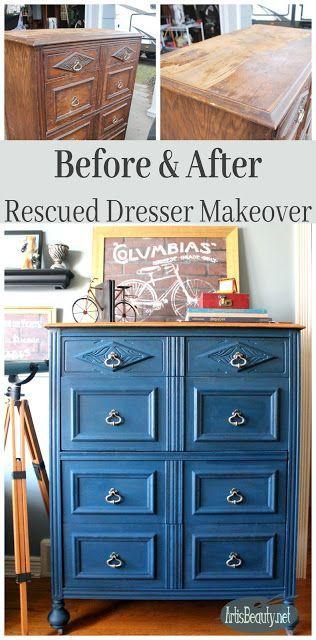 Before And After Boho Blue Rescued Dresser Makeover Handsome Diy Painted Furniture