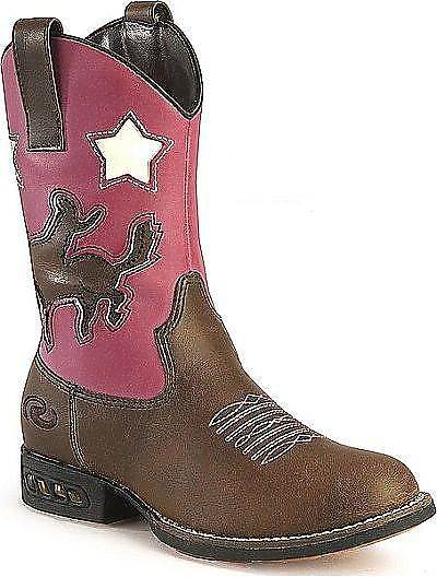 c3fde526794d Kids Pink   Tan Light Up Cowboy Boots