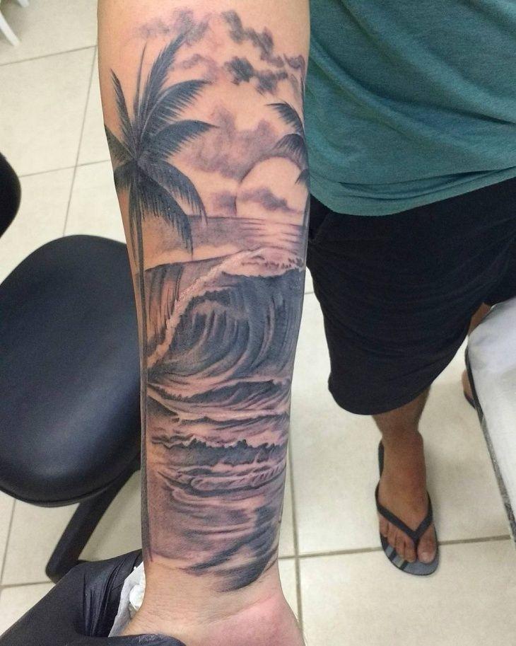 Realistic Beach Tattoo Design Beach Tattoo Palm Tree Tattoo