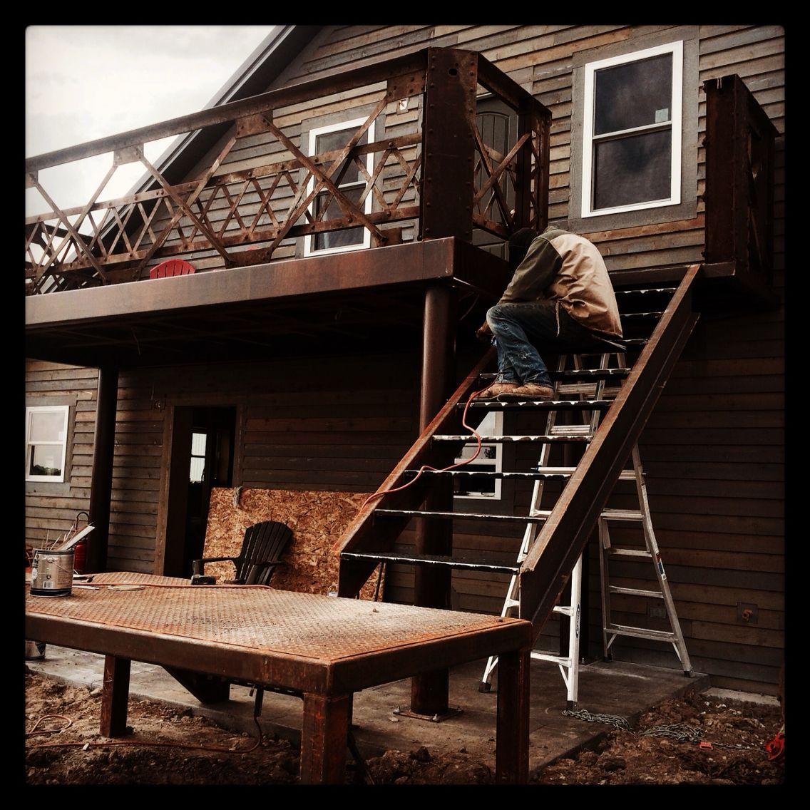 Iron deck from reclaimed bridge iron