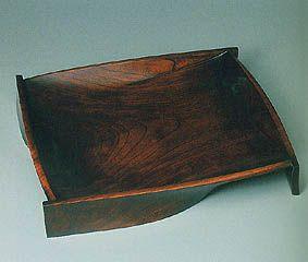 Vessel of zelkova wood finished in wiped lacquer. MURAYAMA Akira