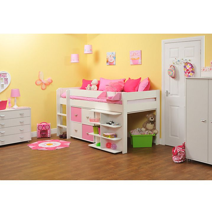 Buy Stompa Uno Plus Mid sleeper Bedstead with Desk and Cube Unit, White Online at johnlewis.com