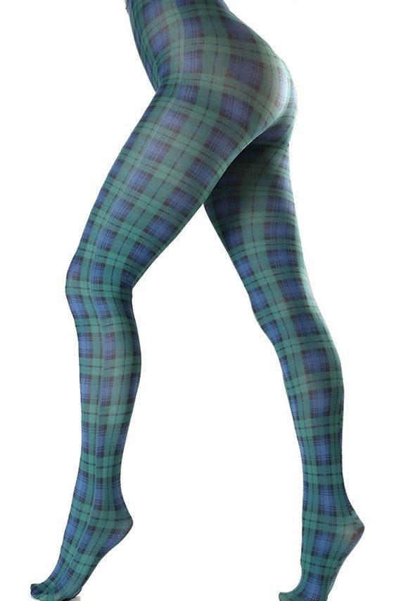Plaid Patterned tights pantyhose green and blue for women, printed tights from small size to plus si