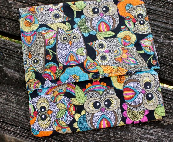 Brightly Colored Owls Sketch Pouch with Orange Green Blue Large Artist Sketch Pouch Owls Journal Sketch Pad Art Pouch Artist Travel Bag II