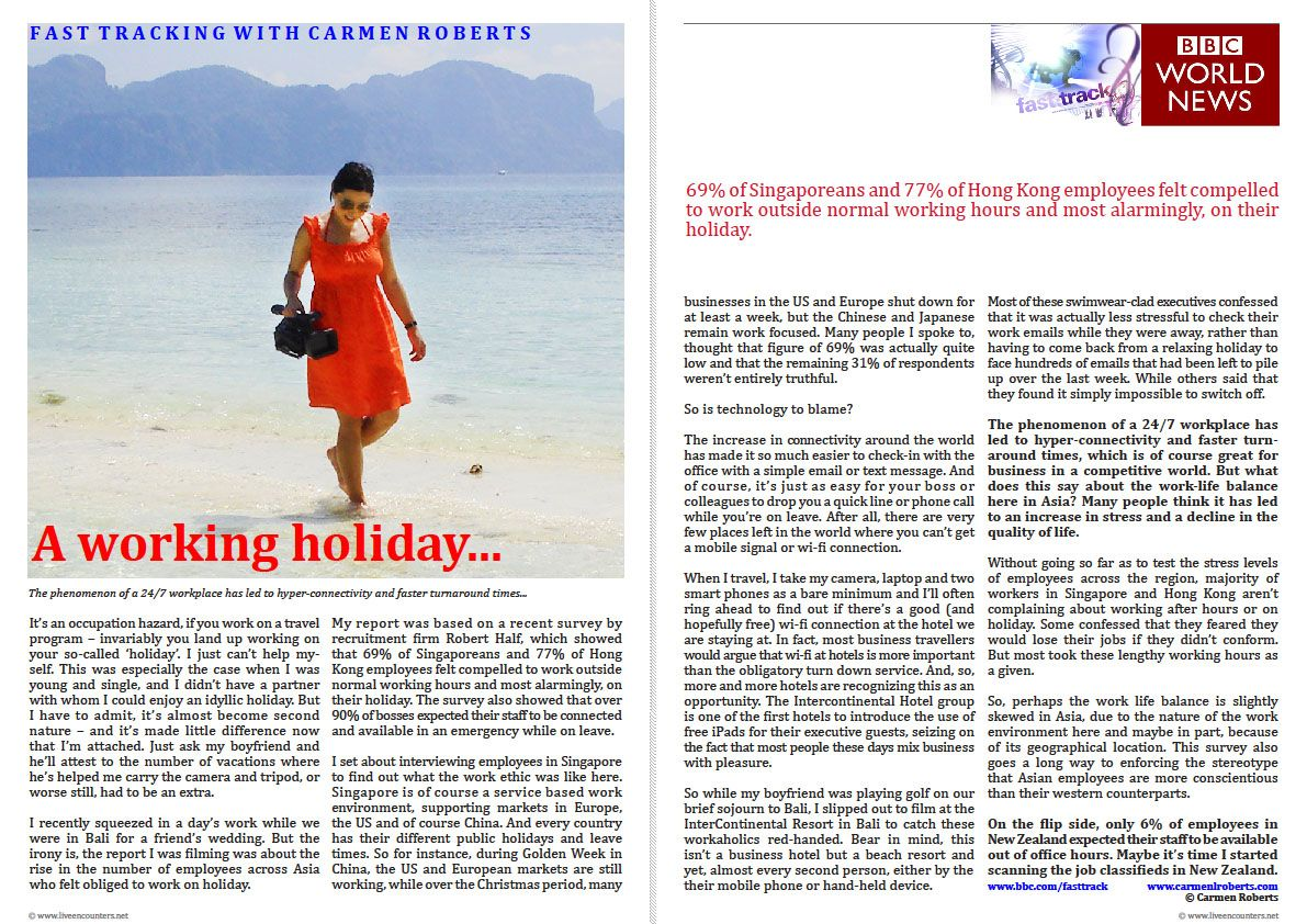 Live Encounters Carmen Roberts A Working Holiday Bbc