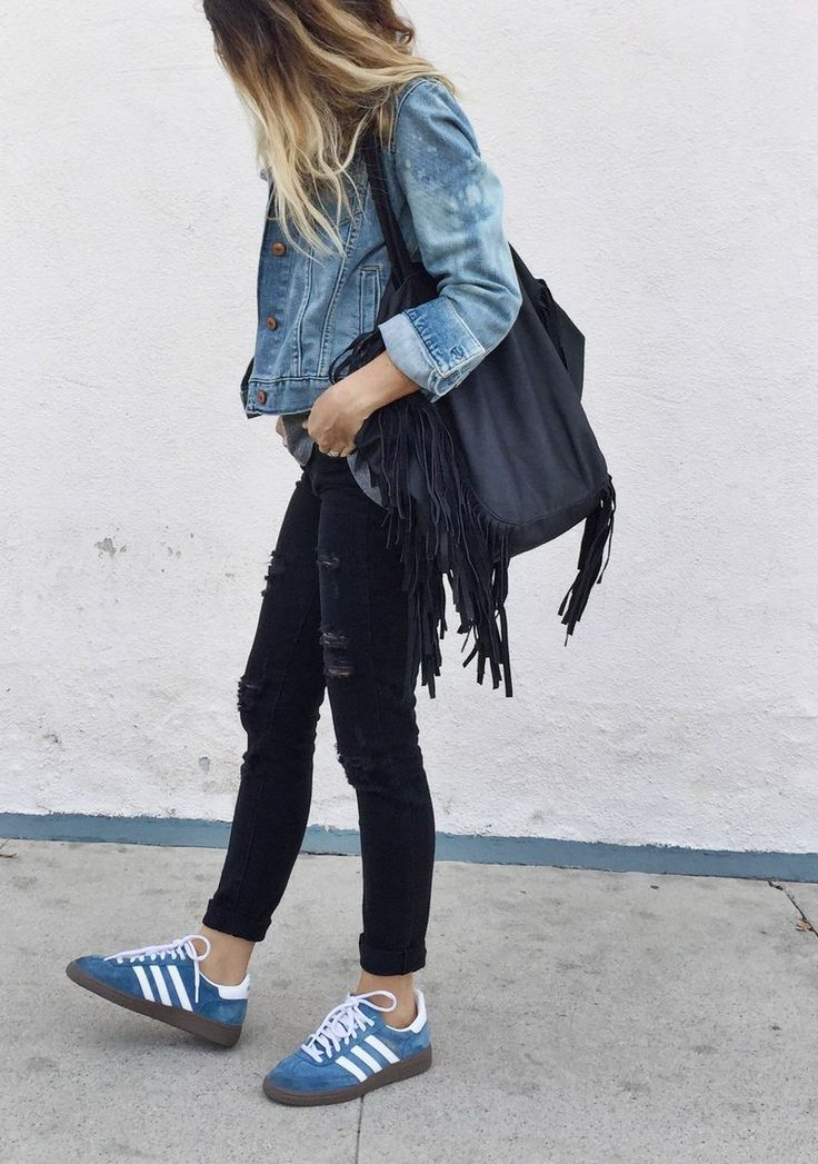 Women's Blue Denim Jacket, Black Ripped Skinny Jeans, Blue Suede Low Top  Sneakers, Black Canvas Tote Bag. Blue Sneakers OutfitDenim SneakersAdidas  ...