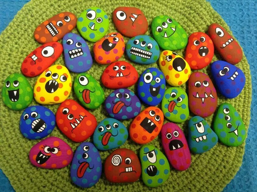 Funny Faces Painted Rocks Kids Painted Rocks Funny Paintings