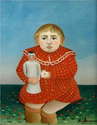 Henri Rousseau (1844 - 1910) | Naïve Art (Primitivism) | The girl with a doll  - 1905