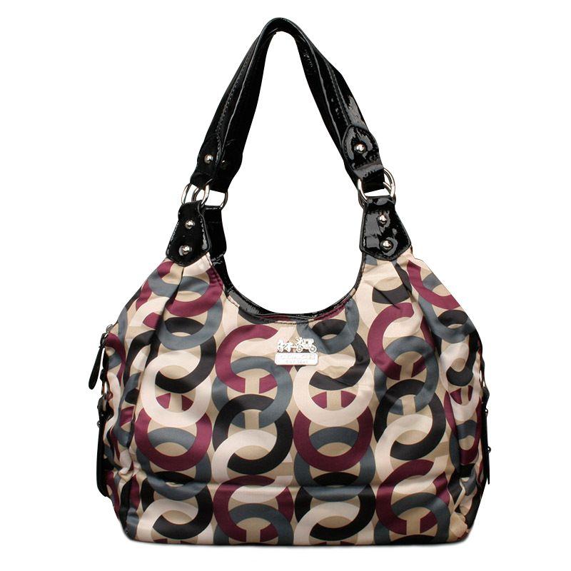 $61.99 Coach Fashion Poppy Signature Medium Black Multi Shoulder Bags ENH hot sale,fast shipping!! #COACH