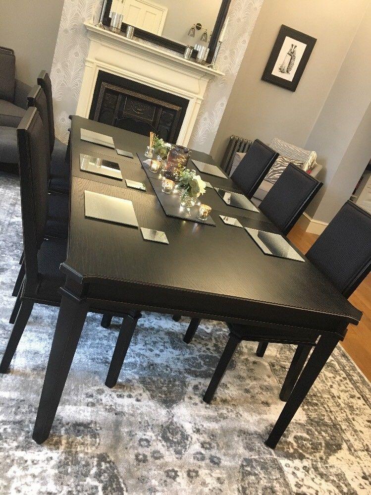 Marvelous Gorgeous Laura Ashley Henshaw Black Extending Dining Table 6 Machost Co Dining Chair Design Ideas Machostcouk