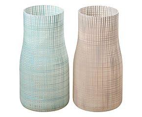 2 Vases JENA verre, marron et turquoise – H27