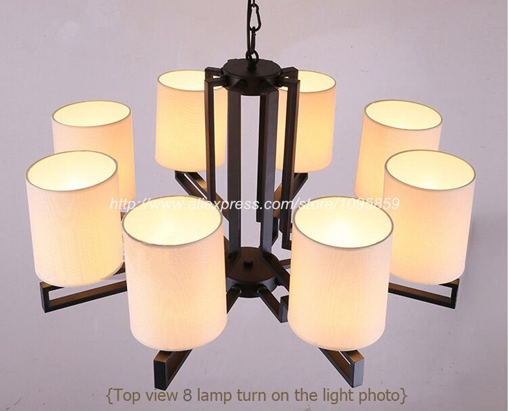 Modern Chinese Style 6 8 Lights Chandelier Light Lamp Dining Room White Fabric Shade Ceiling
