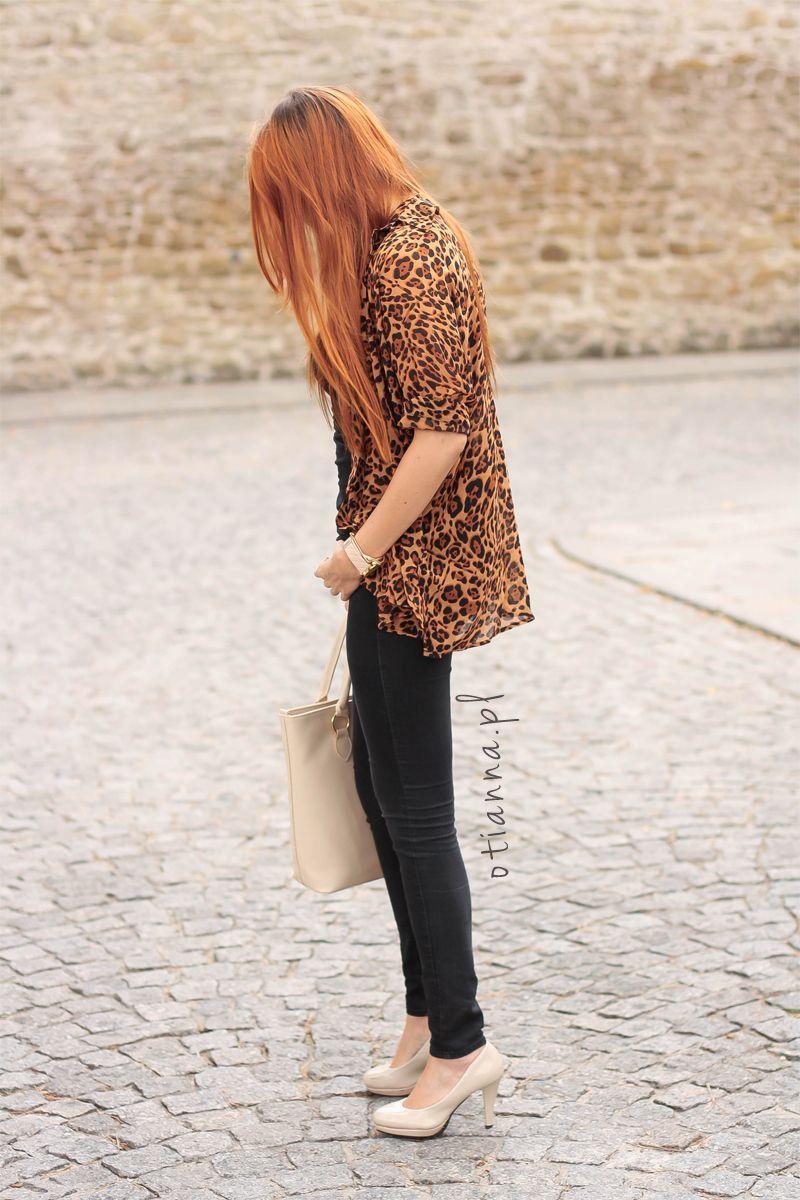 jacket, beige bag, panther, leopard shirt, beige heels - OTIANNA redhead girl, ginger hair, baby blue dress