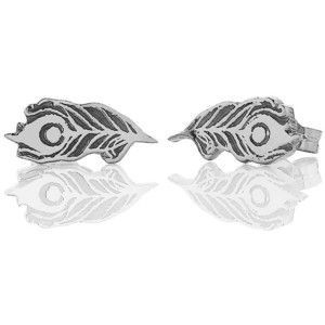 Silver Peacock Feather Studs