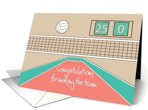 Congratulations For Making Volleyball Team Volleyball And Net Card Volleyball Team Volleyball Cards
