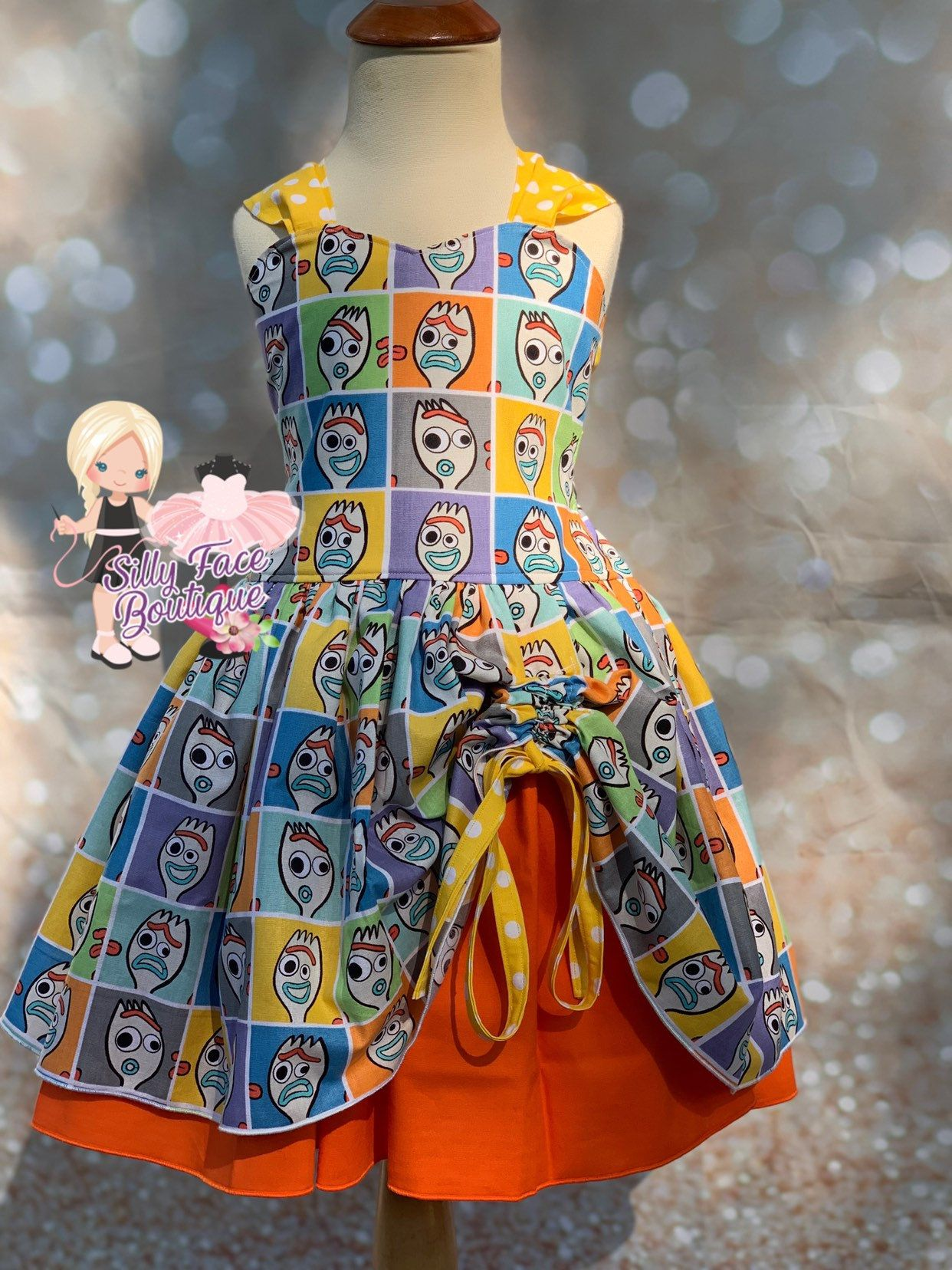 3b8cf250839fb Girls Custom Toy Story 4 Forky Birthday Party Pageant Dress Outfit ...
