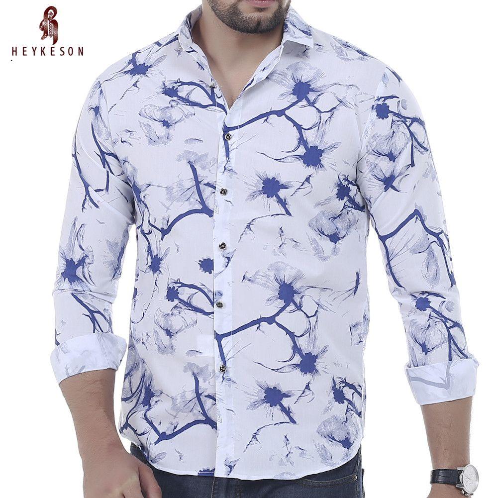 Click to buy ucuc heykeson men shirt brand male long sleeve