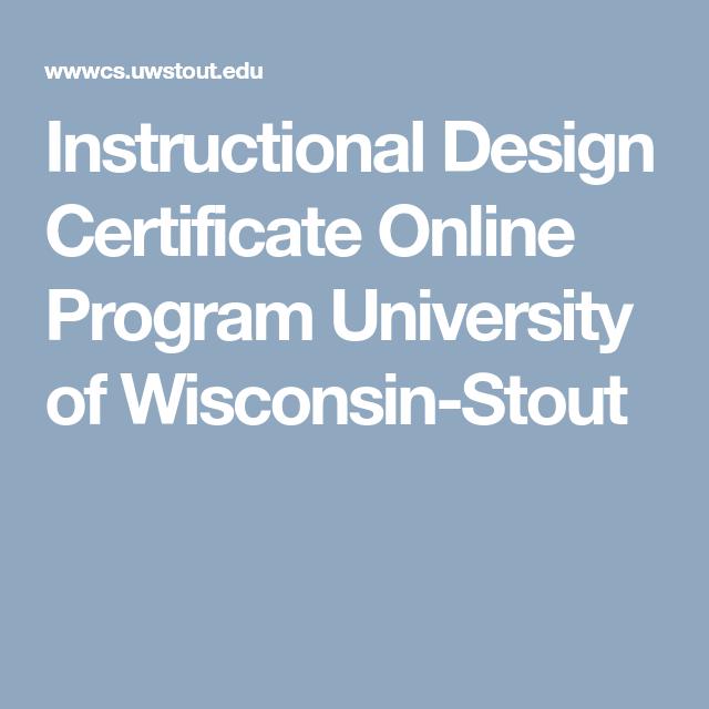 Instructional Design Certificate Online Program University Of