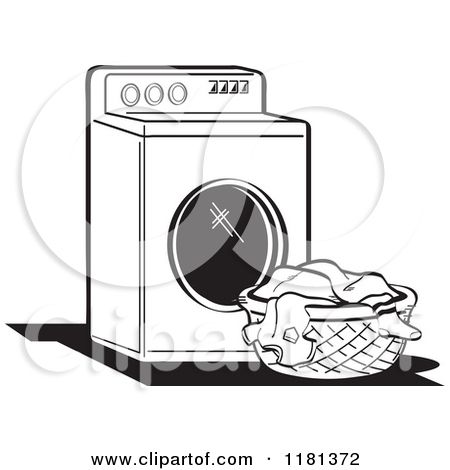 Cartoon Of A Black And White Retro Washing Machine And Laundry Washing Machine Black And White Washing Clothes