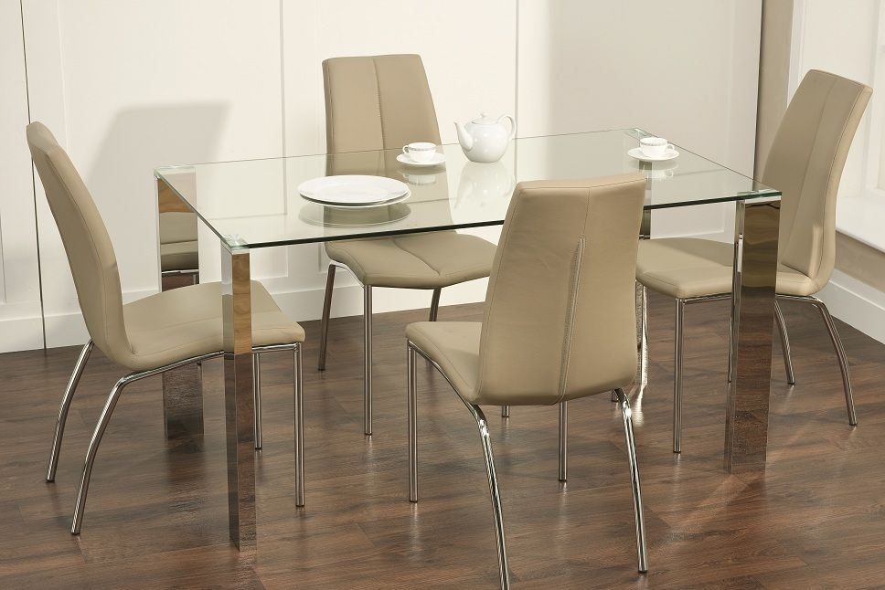 Our brand new Kansas Dining Table and Chair Set is a glass dining