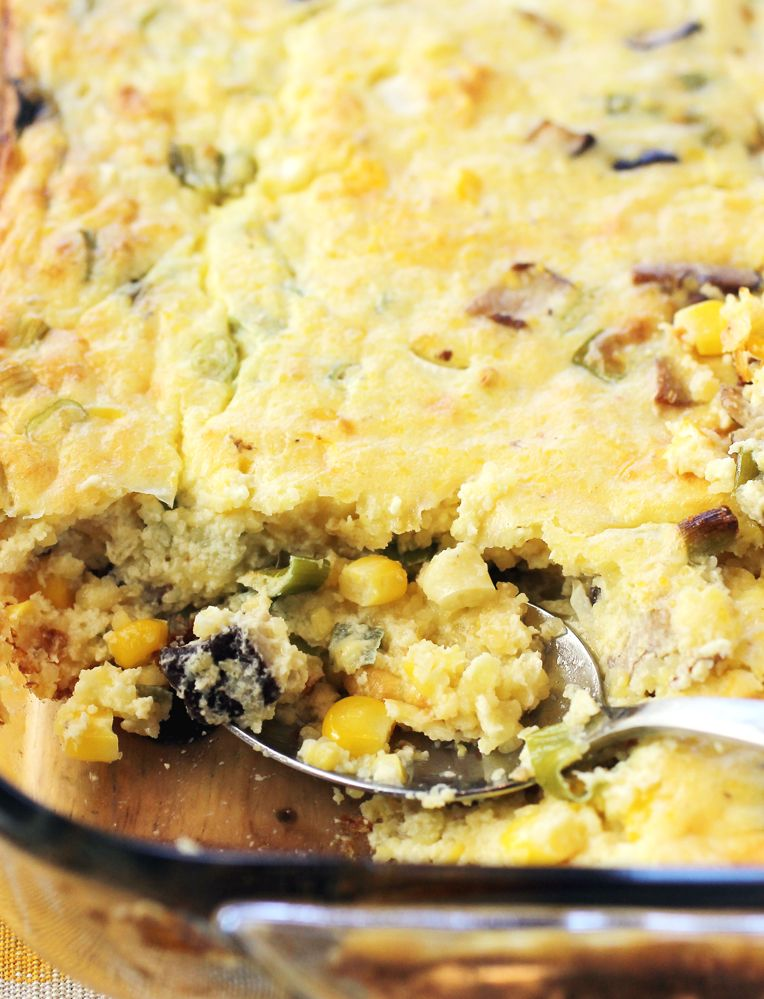 Foreign Cinema S Buttermilk Spoon Bread With Shiitakes Corn And Scallions Spoon Bread Food Baked Dishes
