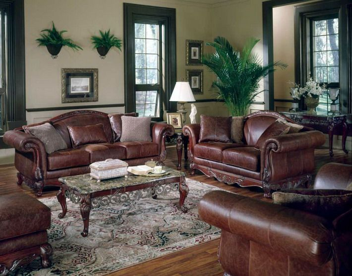 Brown Leather Sofa In Classic Living Room